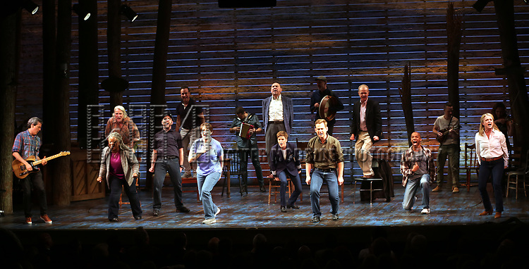 """The cast during the """"Come From Away"""" Broadway Opening Night Curtain Call at the Gerald Schoenfeld Theatre on March 12, 2017 in New York City."""