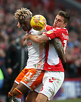 Blackpool's Armand Gnanduillet battles with Charlton Athletic's Ben Purrington<br /> <br /> Photographer David Shipman/CameraSport<br /> <br /> The EFL Sky Bet League One - Charlton Athletic v Blackpool - Saturday 16th February 2019 - The Valley - London<br /> <br /> World Copyright © 2019 CameraSport. All rights reserved. 43 Linden Ave. Countesthorpe. Leicester. England. LE8 5PG - Tel: +44 (0) 116 277 4147 - admin@camerasport.com - www.camerasport.com