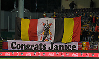 20191112 - LEUVEN , BELGIUM : Belgian fans and supporters pictured deploying a tifo banner and flag in favour of Janice Cayman for her 100 caps : Congrats Janice during the female soccer game between the Belgian Red Flames and Lithuania , the fourth womensoccer game for Belgium in the qualification for the European Championship round in group H for England 2021, Tuesday 12 th November 2019 at the King Power Stadion Den Dreef in Leuven , Belgium. PHOTO SPORTPIX.BE | DAVID CATRY