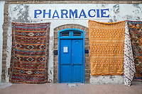 Essaouira, Morocco.  Rugs for Sale, Place Chefchaouini.