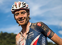 Picture by Alex Broadway/SWpix.com - 09/09/17 - Cycling - UCI 2017 Mountain Bike World Championships - XCO - Cairns, Australia - Grant Ferguson of Great Britain smiles after competing in the Men's Elite XCO Final.