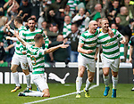 Scott Brown and Leigh Griffiths celebrate to the Govan Stand