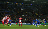 Leicester City's Riyad Mahrez shoots just over the bar from this free kick<br /> <br /> Photographer Stephen White/CameraSport<br /> <br /> UEFA Champions League Quarter Final Second Leg - Leicester City v Atletico Madrid - Tuesday 18th April 2017 - King Power Stadium - Leicester <br />  <br /> World Copyright &copy; 2017 CameraSport. All rights reserved. 43 Linden Ave. Countesthorpe. Leicester. England. LE8 5PG - Tel: +44 (0) 116 277 4147 - admin@camerasport.com - www.camerasport.com