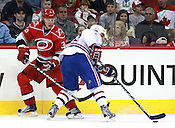 Carolina Hurricanes tallied a 4-2 victory over the Montreal Canadiens for their last home game of the season. Eric Staal conveniently pulled off a hat trick on a day when hats were given away free to fans upon entrance to the game. Photo by Peggy Boone