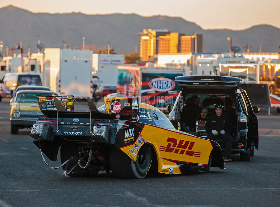 Feb 23, 2019; Chandler, AZ, USA; NHRA funny car driver J.R. Todd during qualifying for the Arizona Nationals at Wild Horse Pass Motorsports Park. Mandatory Credit: Mark J. Rebilas-USA TODAY Sports