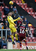 Fleetwood Town's Ched Evans rises highest to beat Bradford City's Jacob Butterfield to the ball<br /> <br /> Photographer David Shipman/CameraSport<br /> <br /> The EFL Sky Bet League One - Bradford City v Fleetwood Town - Saturday 9th February 2019 - Valley Parade - Bradford<br /> <br /> World Copyright &copy; 2019 CameraSport. All rights reserved. 43 Linden Ave. Countesthorpe. Leicester. England. LE8 5PG - Tel: +44 (0) 116 277 4147 - admin@camerasport.com - www.camerasport.com