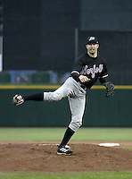May 26, 2004:  Pitcher P.J. Bevis of the Norfolk Tides, Triple-A International League affiliate of the New York Mets, during a game at Frontier Field in Rochester, NY.  Photo by:  Mike Janes/Four Seam Images