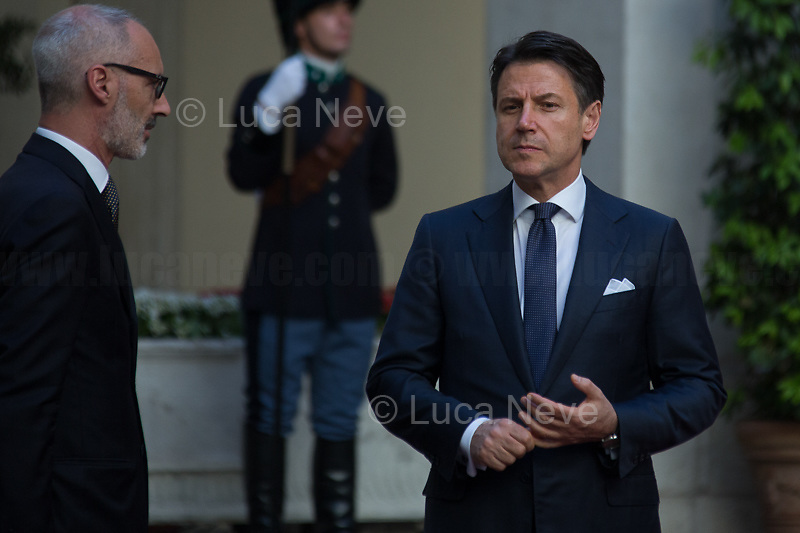 (On the R) Giuseppe Conte (Italian Prime Minister). <br />