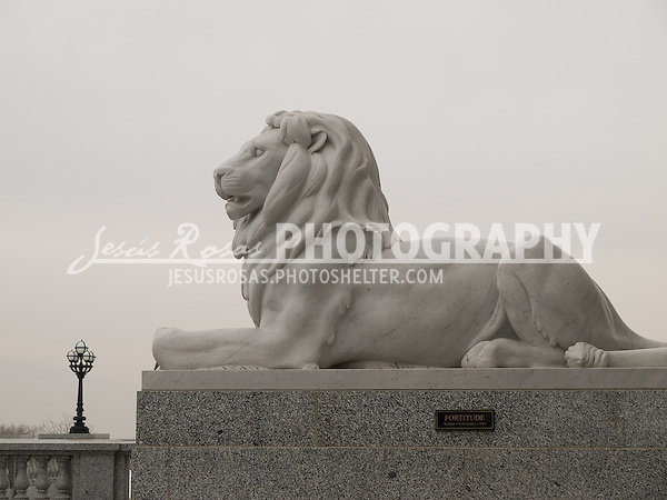 Located at the east side of the Utah State Capitol building is found  the sculpture of this lion titled Fortitude; it is the work of the sculptor Nick Fairplay.