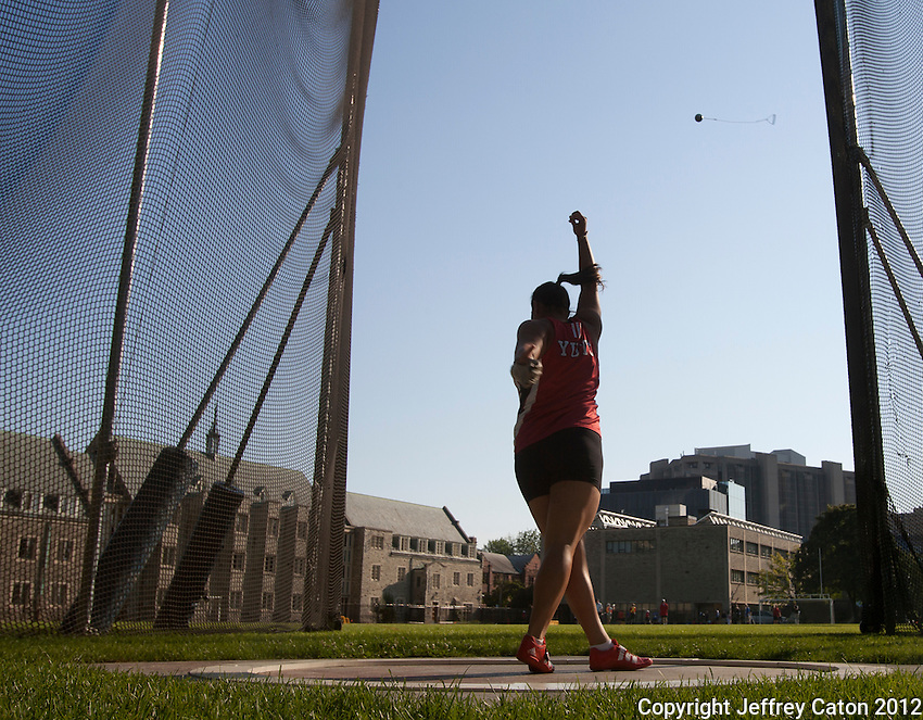 11/07/12 6:10:22 PM Kristin Obrochta of Canada competes in the women's hammer throw at the 2012 Toronto International Track and Field Games---Toronto, ON, Canada:  Sports Action.  Photo by Jeffrey Caton