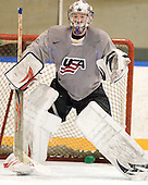 Jack Campbell (USA - 1) - Team USA practiced at the Agriplace rink on Monday, December 28, 2009, in Saskatoon, Saskatchewan, during the 2010 World Juniors tournament.