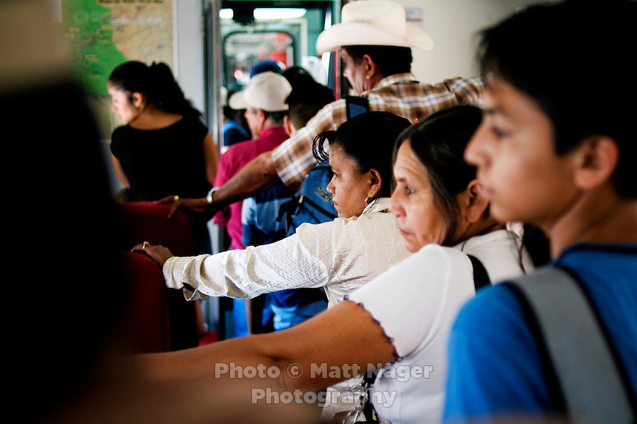 Passengers on a trip through Barranca del Cobre (Copper Canyon) using the last passenger train in Mexico passes through a tunnel, Thursday, June 19, 2008. The first departing train leaves Los Mochis at 6AM and will make eight stops along the route which passes over 408 miles of railroad tracks, through 86 tunnels and over 37 bridges on its voyage...PHOTOS/ MATT NAGER
