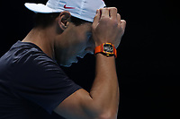 15th November 2019; 02 Arena. London, England; Nitto ATP Tennis Finals; Rafael Nadal (Spain) during his practice session wearing his Richard Millie watch - Editorial Use