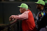 Daytona Tortugas pitching coach Tom Brown (8) in the dugout during a game against the Jupiter Hammerheads on April 13, 2018 at Jackie Robinson Ballpark in Daytona Beach, Florida.  Daytona defeated Jupiter 9-3.  (Mike Janes/Four Seam Images)