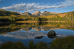 Autumn sunrise, reflection, Sprague Lake, RMNP.