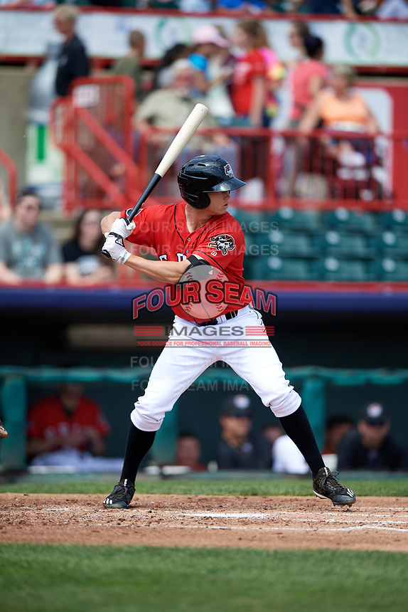 Erie SeaWolves shortstop A.J. Simcox (10) at bat during a game against the Reading Fightin Phils on May 18, 2017 at UPMC Park in Erie, Pennsylvania.  Reading defeated Erie 8-3.  (Mike Janes/Four Seam Images)