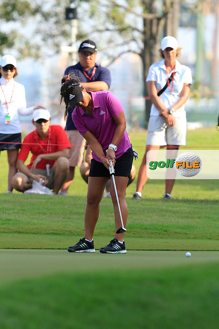 Danielle Kang (USA) on the 1st green during Round 4 of the HSBC Women's Champions at the Sentosa Golf Club, The Serapong Course in Singapore on Sunday 8th March 2015.<br /> Picture:  Thos Caffrey / www.golffile.ie