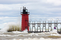64795-02203 South Haven Lighthouse with high waves crashing South Haven,  MI