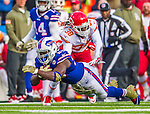 9 November 2014: Buffalo Bills running back Anthony Dixon lunges forward to complete a 27 yard gain against the Kansas City Chiefs in the third quarter at Ralph Wilson Stadium in Orchard Park, NY. The Chiefs rallied with two fourth quarter touchdowns to defeat the Bills 17-13. Mandatory Credit: Ed Wolfstein Photo *** RAW (NEF) Image File Available ***