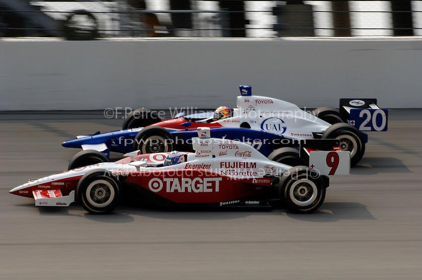 11 September, 2005, Joliet,IL,USA<br /> Scott Dixon (10) and Ed Carpenter.<br /> Copyright&copy;F.Peirce Williams 2005