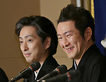 """April 26, 2018, Tokyo, Japan - Japanese kabuki actor Nakamura Shido speaks during a news conference at Tokyo Foreign Correspondents Club of Japan on Thursday, April 26, 2018. Nakamura will perform kabuki in the """"Japonismes 2018, a cultural expo starting in Paris and surrounding areas in July to celebrate the 160th anniversary of?Japan-France?diplomatic relations. Background is also kabuki actor Nakamura Shichinosuke. (Photo by Natsuki Sakai/AFLO) AYF -mis-"""