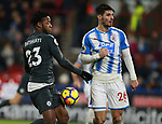 Michy Batshuayi of Chelsea tussles with Christopher Schindler of Huddersfield Town  during the premier league match at the John Smith's Stadium, Huddersfield. Picture date 12th December 2017. Picture credit should read: Simon Bellis/Sportimage