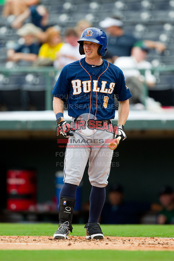 Mike Fontenot (3) of the Durham Bulls steps up to the plate during the International League game against the Charlotte Knights at Knights Stadium on August 18, 2013 in Fort Mill, South Carolina.  The Bulls defeated the Knights 8-5 in Game One of a double-header.  (Brian Westerholt/Four Seam Images)