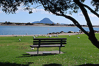 White Island, New Zealand's only active marine volcano, is seen on the horizon from the shoreline at Whakatane, North Island, New Zealand. 201003154117..Copyright Image from Victor Patterson, 54 Dorchester Park, Belfast, UK, BT9 6RJ..Tel: +44 28 9066 1296.Mob: +44 7802 353836.Voicemail +44 20 8816 7153.Skype: victorpattersonbelfast.Email: victorpatterson@mac.com.Email: victorpatterson@ireland.com (back-up)..IMPORTANT: If you wish to use this image or any other of my images please go to www.victorpatterson.com and click on the Terms & Conditions. Then contact me by email or phone with the reference number(s) of the image(s) concerned.