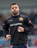 Exeter Cheifs' Tom O'Flaherty during the pre match warm up<br /> <br /> Photographer Bob Bradford/CameraSport<br /> <br /> Anglo Welsh Cup Semi Final - Exeter Chiefs v Newcastle Falcons - Sunday 11th March 2018 - Sandy Park - Exeter<br /> <br /> World Copyright &copy; 2018 CameraSport. All rights reserved. 43 Linden Ave. Countesthorpe. Leicester. England. LE8 5PG - Tel: +44 (0) 116 277 4147 - admin@camerasport.com - www.camerasport.com