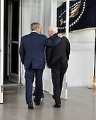 Washington, DC - March 5, 2008 -- United States President George W. Bush, left, walks United States Senator John McCain (Republican of Arizona), right, the presumptive 2008 Republican nominee for President of the United States into the White House for lunch on the North Portico on Wednesday, March 5, 2008..Credit: Ron Sachs / CNP