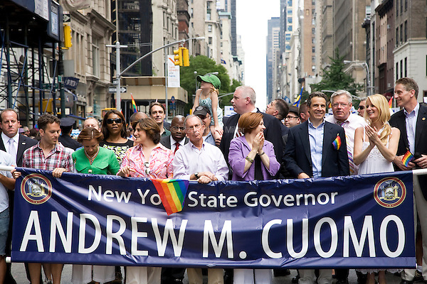 New York Mayor Michael Bloomberg (C), City Council Speaker Christine Quinn (3R), Governor Andrew Cuomo (2R), and Sandra Lee (R) participate in the 2011 NYC Pride March on 26 June 2011 in New York, New York, two days after the New York State Senate voted 33-29 to legalize gay marriage.