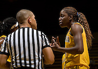 Gennifer Brandon of California argues with the referee about a bad call during the game against St. Mary's at Haas Pavilion in Berkeley, California on November 15th, 2012.  California defeated St. Mary's, 89-41.