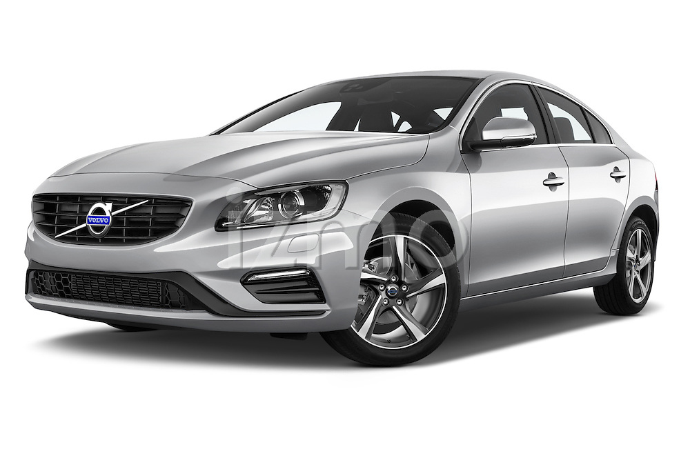Stock pictures of low aggressive front three quarter view of 2016 Volvo S60 R-Design 4 Door Sedan Low Aggressive