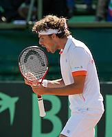 08-07-11, Tennis, South-Afrika, Potchefstroom, Daviscup South-Afrika vs Netherlands, Robin Haase schreeuwt het uit in de eerste pastij tegen de Voest