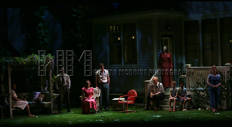 """Chinasa Ogbuagu, Hampton Fluker, Francesca Carpanini, Benjamin Walker, Tracy Letts, Annette Bening, Monte Green, Alexander Bello and Jenni Barber during the Broadway Opening Night Curtain Call for """"All My Sons"""" at The American Airlines Theatre on April 22, 2019  in New York City."""