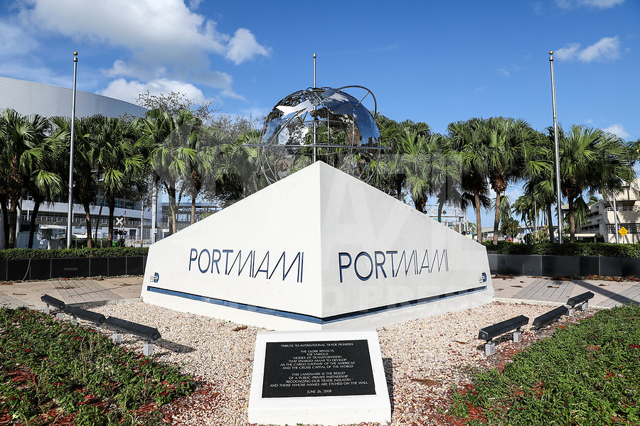 "MIAMI, FL, USA - 12.09.2017 - MIAMI-PORTO - Vista da entrada do Porto de Miami ""Port Mam""na cidade de Miami na Florida no Estados Unidos. (Foto: William Volcov/Brazil Photo Press)."
