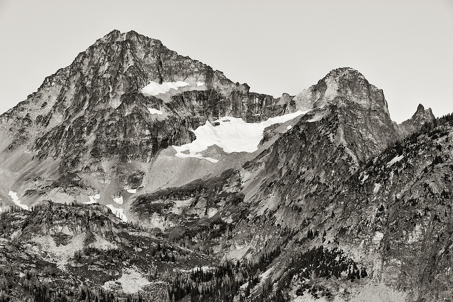 A duotone image of Black Peak in the North Cascade range of Washington State.