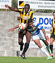 East Fife's Joe Mbu challenges Morton's Kabba-Modou Cham.