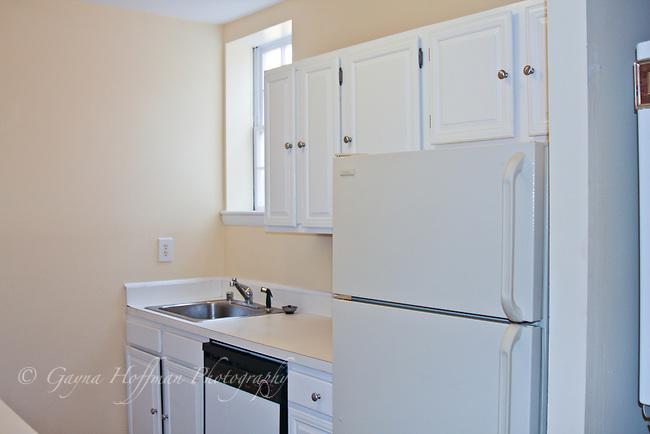 apartment kitchen, sink, refrigerator.