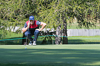 Thomas Detry (BEL) lines up his putt on the 16th hole during second round at the Omega European Masters, Golf Club Crans-sur-Sierre, Crans-Montana, Valais, Switzerland. 30/08/19.<br /> Picture Stefano DiMaria / Golffile.ie<br /> <br /> All photo usage must carry mandatory copyright credit (© Golffile | Stefano DiMaria)