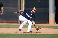 Milwaukee Brewers first baseman David Fry (7) fields a ball during an Instructional League game against the Los Angeles Dodgers at Maryvale Baseball Park on September 24, 2018 in Phoenix, Arizona. (Zachary Lucy/Four Seam Images)