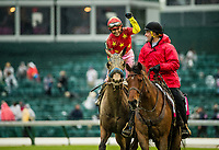 LOUISVILLE, KY - MAY 05: Mike Smith celebrates after winning the Kentucky Oaks aboard Abel Tasman #13 at Churchill Downs on May 5, 2017 in Louisville, Kentucky. (Photo by Alex Evers/Eclipse Sportswire/Getty Images)