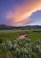 Yellowstone National Park, WY: Vibrant sunset clouds illuminate Rose Creek and the Lamar Valley with Specimen Ridge and Amethyst Peak in the distance
