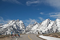 Family takes a break from bicycling in Grand Teton National Park