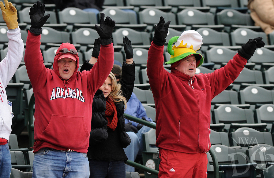 NWA Democrat-Gazette/ J.T. WAMPLER -- A small but enthusiastic crowd calls the Hogs Monday March 2, 2015 during the baseball Razorbacks game against Eastern Illinois University. The Hogs' baseball game scheduled for Wednesday has been cancelled due to expected winter weather.