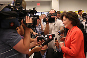 Democratic candidate Kathy Hochul speaks with the news media during a rally at UAW Union Hall on May 21, 2011 in Amherst, New York.  Hochul is running for the House of Representatives, NY-26th, in a special election to replace disgraced former Congressman Christopher Lee who abruptly resigned after a sex scandal.  Photo By Mike Janes/Four Seam Images