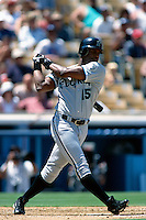 Cliff Floyd of the Florida Marlins participates in a Major League Baseball game at Dodger Stadium during the 1998 season in Los Angeles, California. (Larry Goren/Four Seam Images)