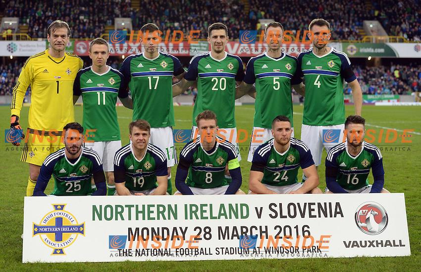 Formazione IRLANDA DEL NORD <br /> Northern Ireland team group before the match <br /> Northern Ireland vs Slovenia - Friendly match - Belfast - 03/28/2016<br /> Foto Insidefoto