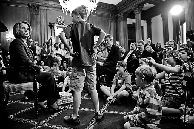 """Speaker of the House Nancy Pelosi, D-Calif., takes questions from children of House staff and press during her weekly news conference, held on """"Take Our Daughters and Sons to Work Day"""" on April 23, 2009."""