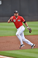 Georgia Bulldogs third baseman Trevor Kieboom (42) reacts to the ball during a game against the Tennessee Volunteers at Lindsey Nelson Stadium March 21, 2015 in Knoxville, Tennessee. The Bulldogs defeated the Volunteers 12-7. (Tony Farlow/Four Seam Images)